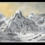 Snow mountain sketch done in MyPaint