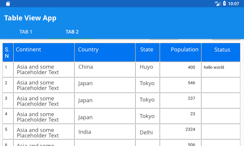 Creating a Table view in Android using Recyclerview
